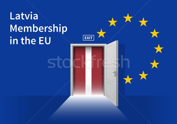 Europeu união bandeira parede porta Foto stock © tkacchuk