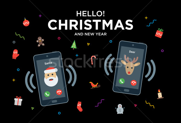 Christmas Greeting Card with phone call from Santa and Reindeer Stock photo © tkacchuk