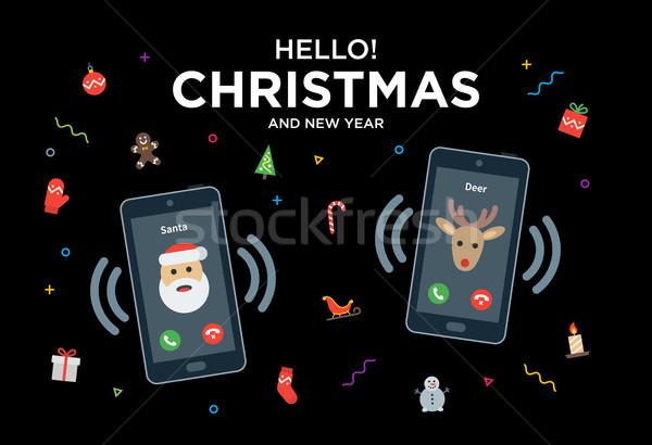 Karácsony üdvözlőlap telefonbeszélgetés mikulás rénszarvas anyag Stock fotó © tkacchuk
