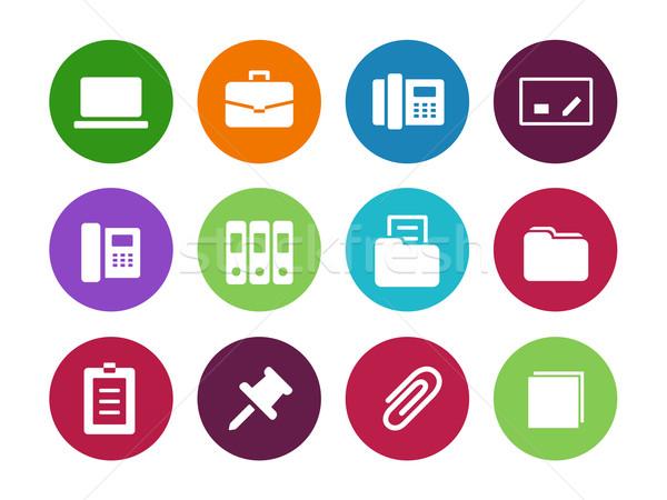 Biuro kółko ikona biały działalności laptop Zdjęcia stock © tkacchuk