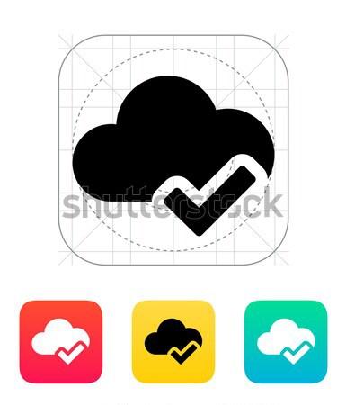 Vérifier nuage simple icône blanche internet Photo stock © tkacchuk