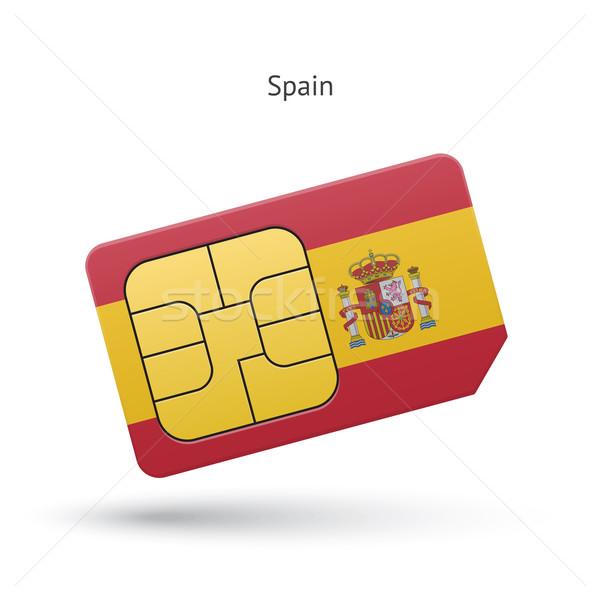 Spain mobile phone sim card with flag. Stock photo © tkacchuk