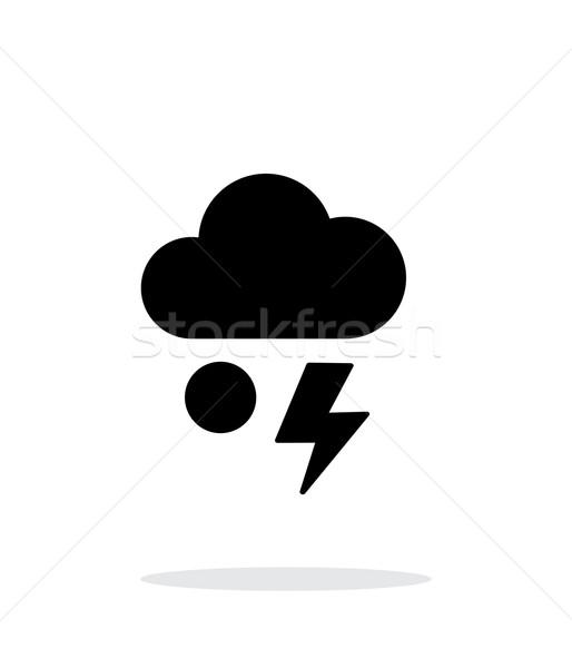 Hail with lightning weather simple icon on white background. Stock photo © tkacchuk