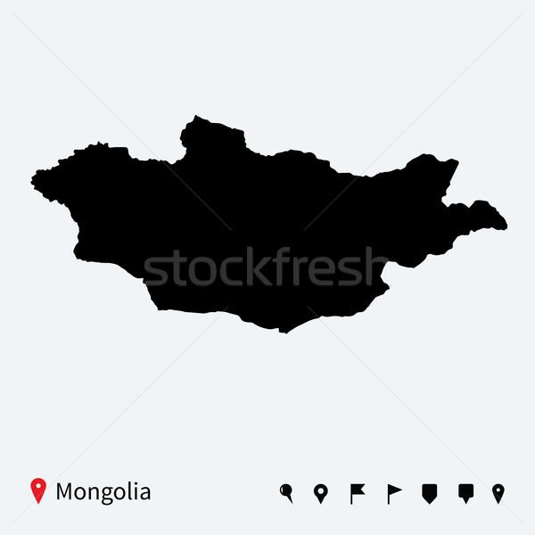 Magas részletes vektor térkép Mongólia navigáció Stock fotó © tkacchuk