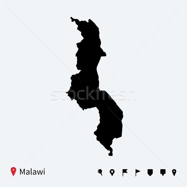 High detailed vector map of Malawi with navigation pins. Stock photo © tkacchuk