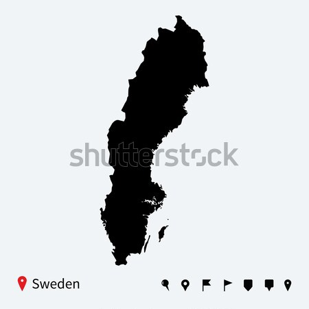 высокий подробный вектора карта Швеция навигация Сток-фото © tkacchuk