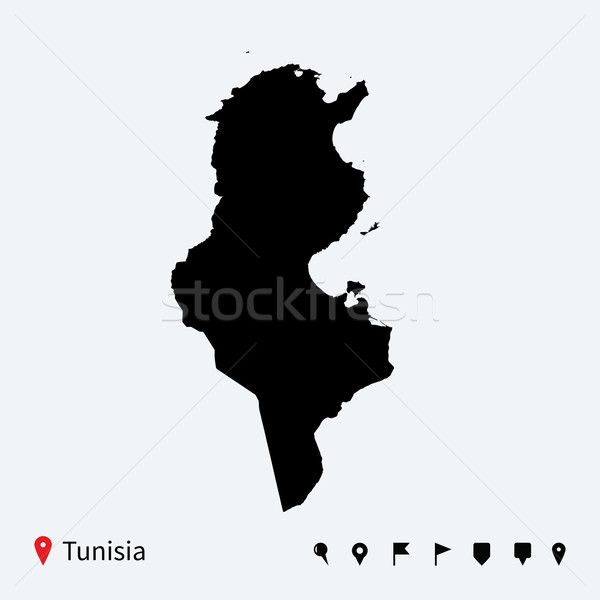 Alto detalhado vetor mapa Tunísia navegação Foto stock © tkacchuk