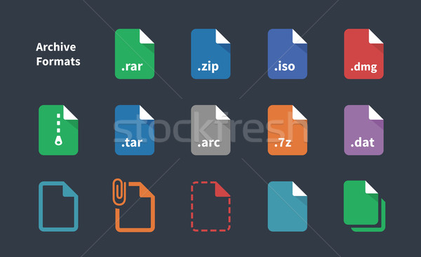 Set of Archive File Formats icons. Stock photo © tkacchuk