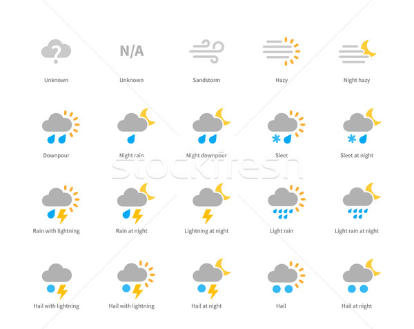 Meteorology colored icons on white background. Stock photo © tkacchuk