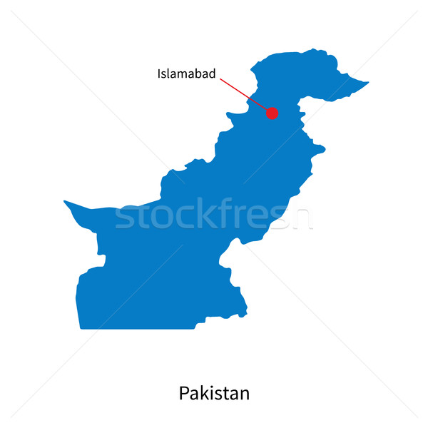 Detailed vector map of Pakistan and capital city Islamabad Stock photo © tkacchuk