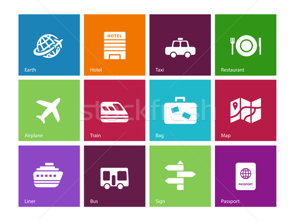 Travel icons on color background. Stock photo © tkacchuk