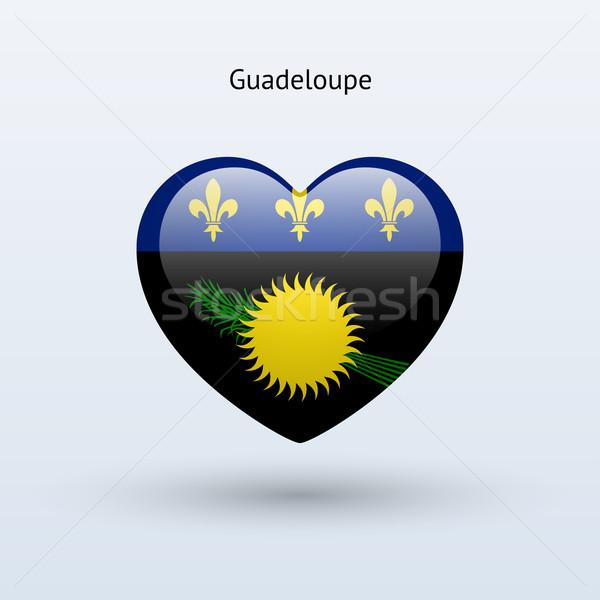 Love Guadeloupe symbol. Heart flag icon. Stock photo © tkacchuk