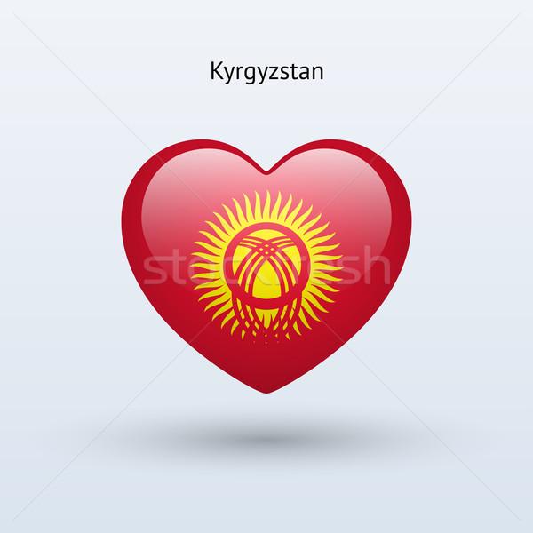 Sevmek Kırgızistan simge kalp bayrak ikon Stok fotoğraf © tkacchuk