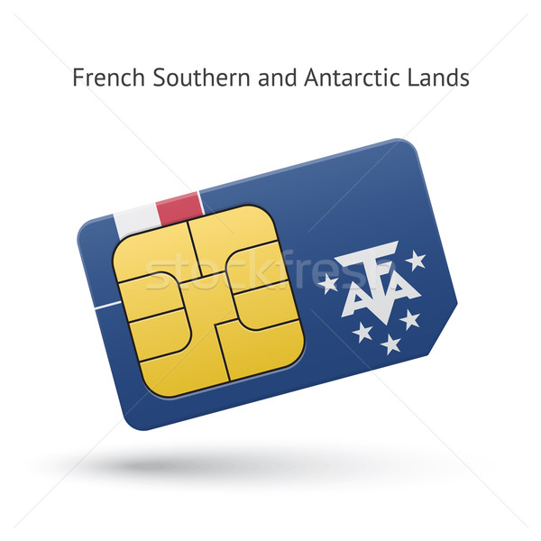 French Southern and Antarctic Lands phone sim card with flag. Stock photo © tkacchuk