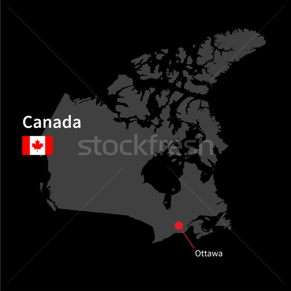 Detailed map of Canada and capital city Ottawa with flag on black background Stock photo © tkacchuk