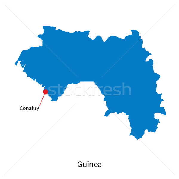 Detailed vector map of Guinea and capital city Conakry Stock photo © tkacchuk