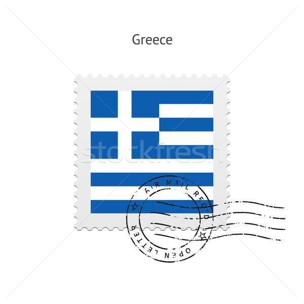 Stock photo: Greece Flag Postage Stamp.