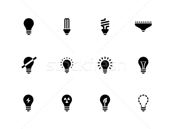 Ampoule lampe icônes blanche internet web Photo stock © tkacchuk