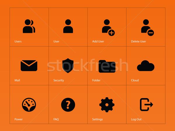 User Account icons on orange background. Stock photo © tkacchuk