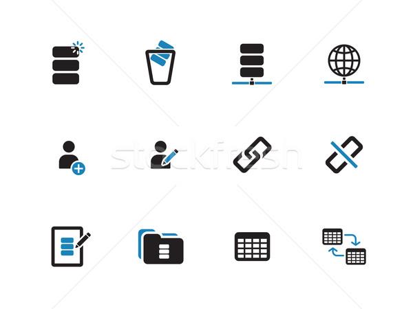 Database duotone icons on white background. Stock photo © tkacchuk