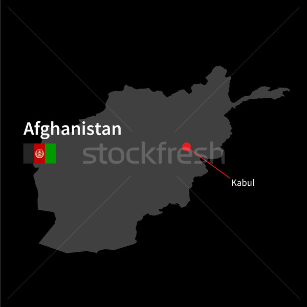 Detaillierte Karte Afghanistan Stadt Flagge schwarz Stock foto © tkacchuk