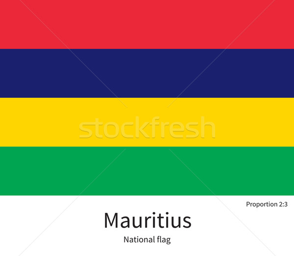 National flag of Mauritius with correct proportions, element, colors Stock photo © tkacchuk