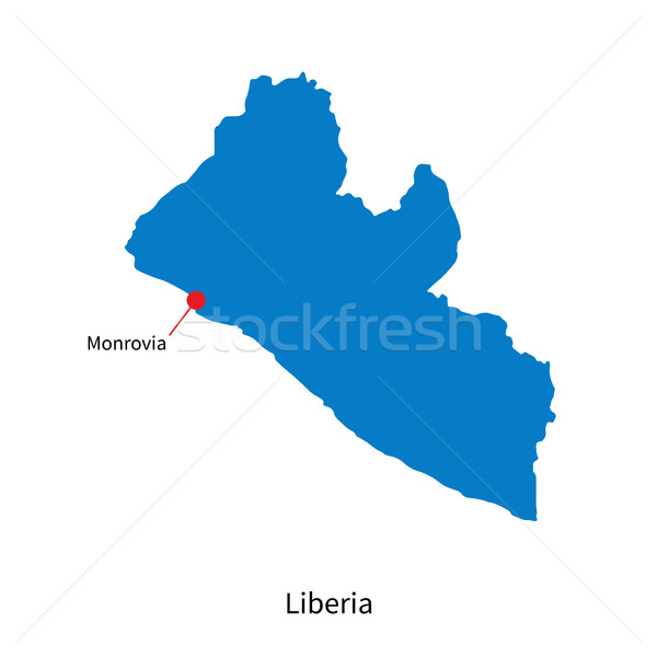 Detailed vector map of Liberia and capital city Monrovia Stock photo © tkacchuk