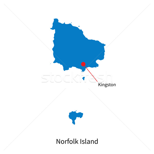 Detailed vector map of Norfolk Island and capital city Kingston Stock photo © tkacchuk