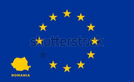 EU flag with Romania country. European Union membership Romania Stock photo © tkacchuk