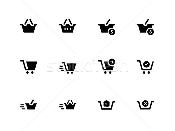 Pénztár ikonok fehér üzlet terv bolt Stock fotó © tkacchuk