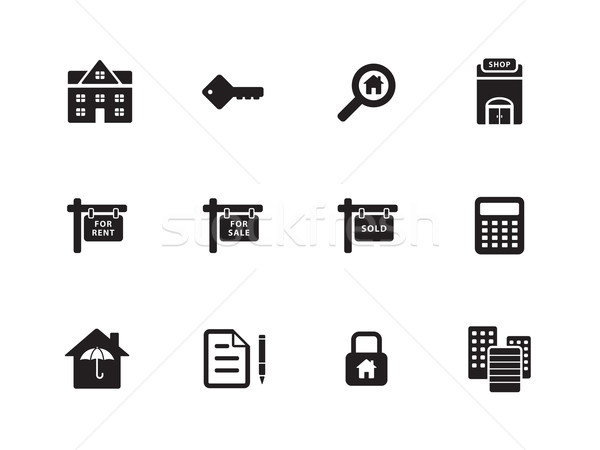 Inmobiliario iconos blanco casa web clave Foto stock © tkacchuk