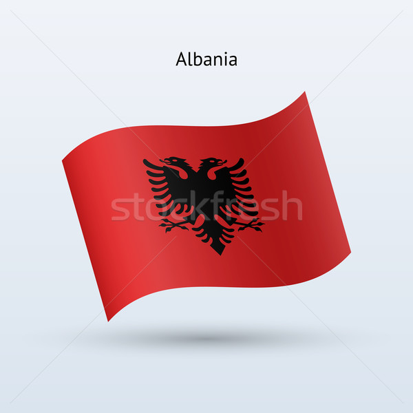 Albania bandera forma gris viaje Foto stock © tkacchuk