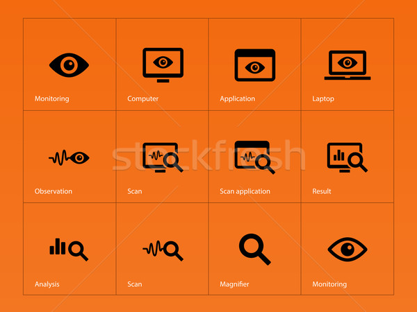 Monitoring icons on orange background. Stock photo © tkacchuk