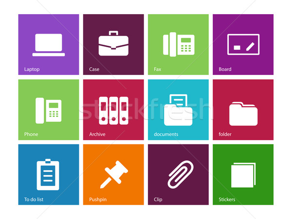 Office icons on color background. Stock photo © tkacchuk