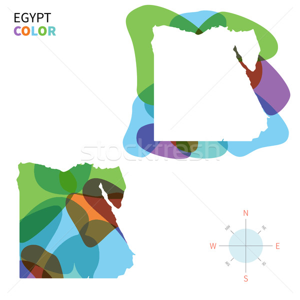 Abstract vector color map of Egypt with transparent paint effect. Stock photo © tkacchuk