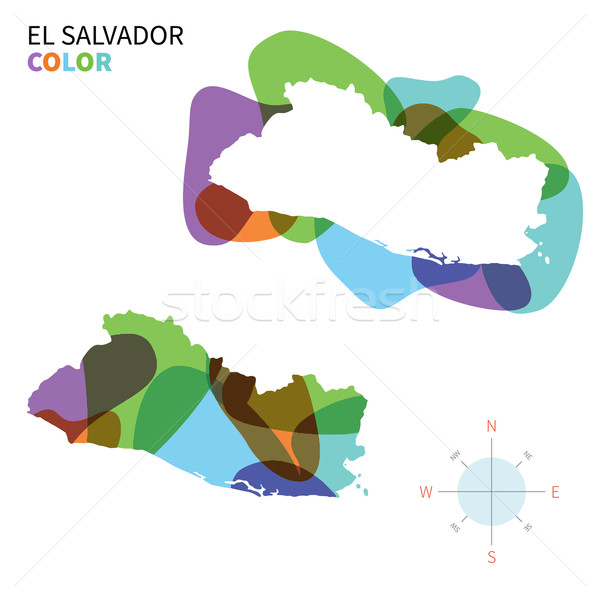 Abstract vector color map of El Salvador with transparent paint effect. Stock photo © tkacchuk