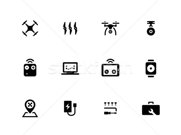 Flying dron++e icons on white background. Stock photo © tkacchuk