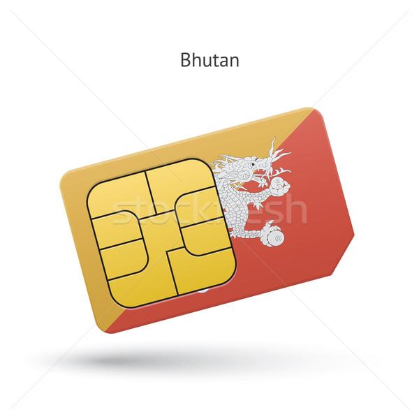 Butão telefone móvel cartão bandeira negócio projeto Foto stock © tkacchuk