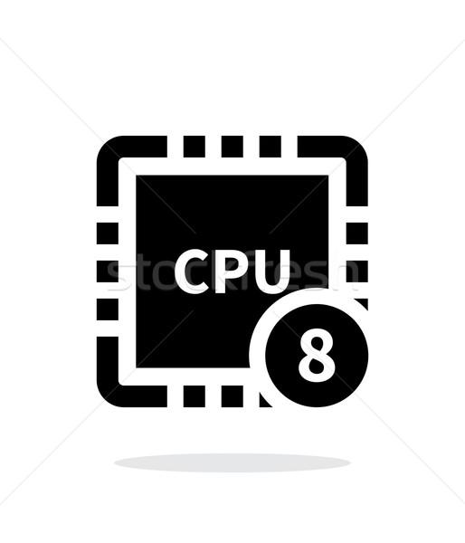 8 コア のCPU  単純な アイコン 白 ストックフォト © tkacchuk