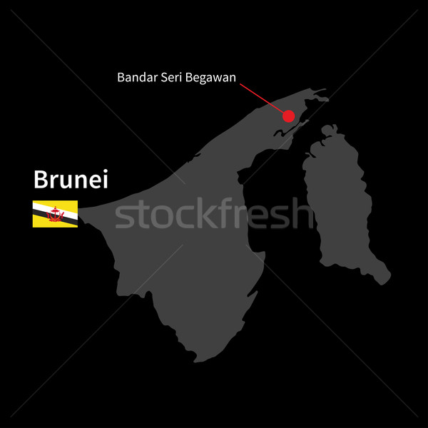 Stock photo: Detailed map of Brunei and capital city Bandar Seri Begawan with flag on black background
