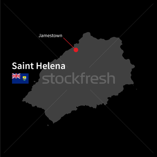 Stock photo: Detailed map of Saint Helena and capital city Jamestown with flag on black background