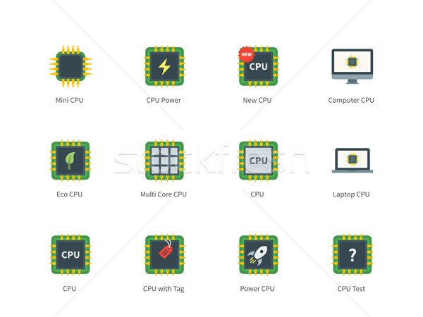 Cpu color icons on white background Stock photo © tkacchuk