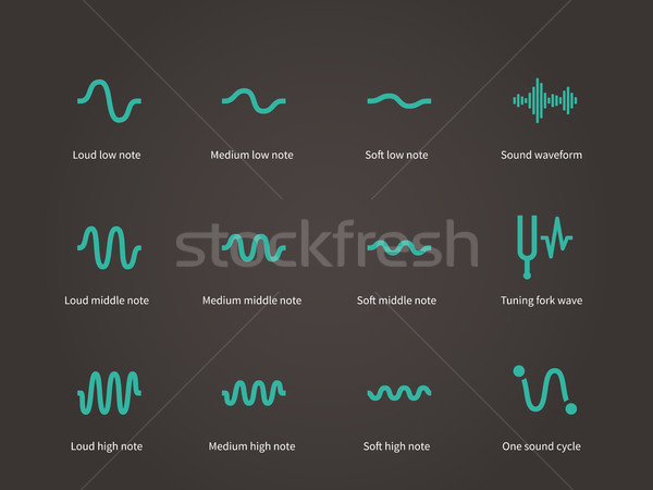 Sound and music waveform icons set. Stock photo © tkacchuk
