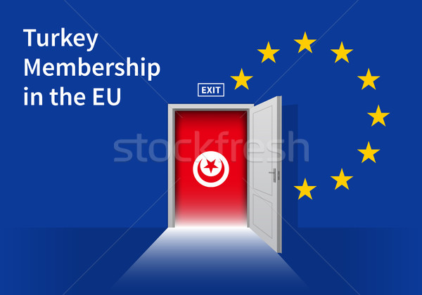European Union flag wall with Turkey flag door. EU Flag. Stock photo © tkacchuk