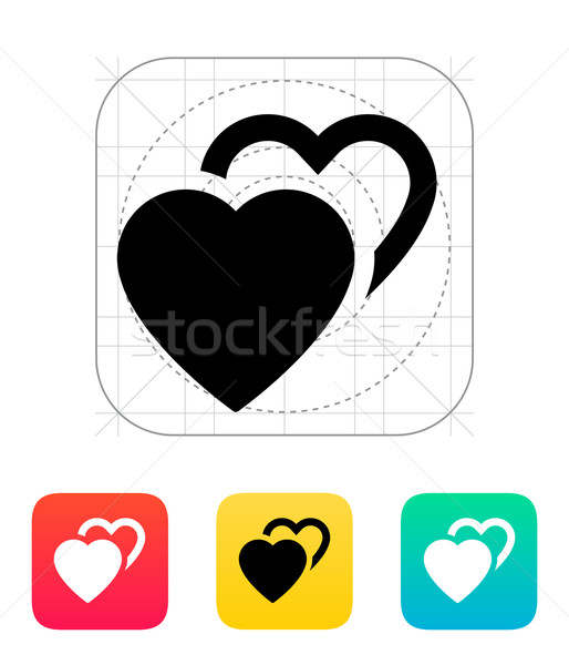 Stock photo: Two hearts icon.
