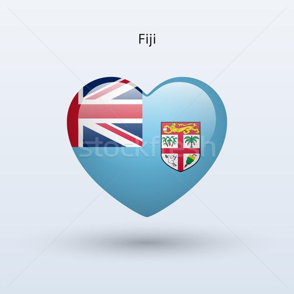 Szeretet Fidzsi-szigetek szimbólum szív zászló ikon Stock fotó © tkacchuk