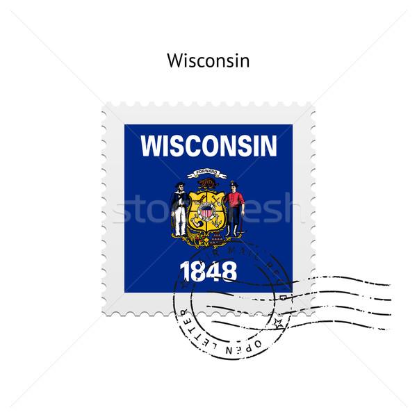 Висконсин флаг почтовая марка белый знак письме Сток-фото © tkacchuk