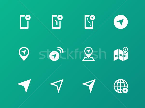 Navigator icons on green background. Stock photo © tkacchuk