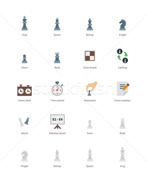 Chess colored icons on white background. Stock photo © tkacchuk