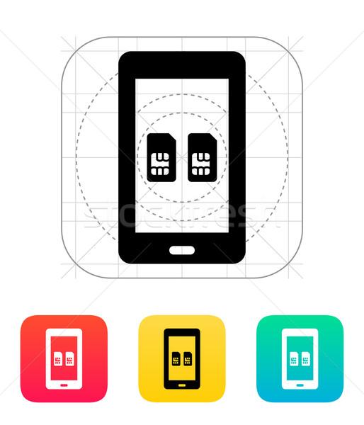 Dual SIM mobile phone icon. Stock photo © tkacchuk